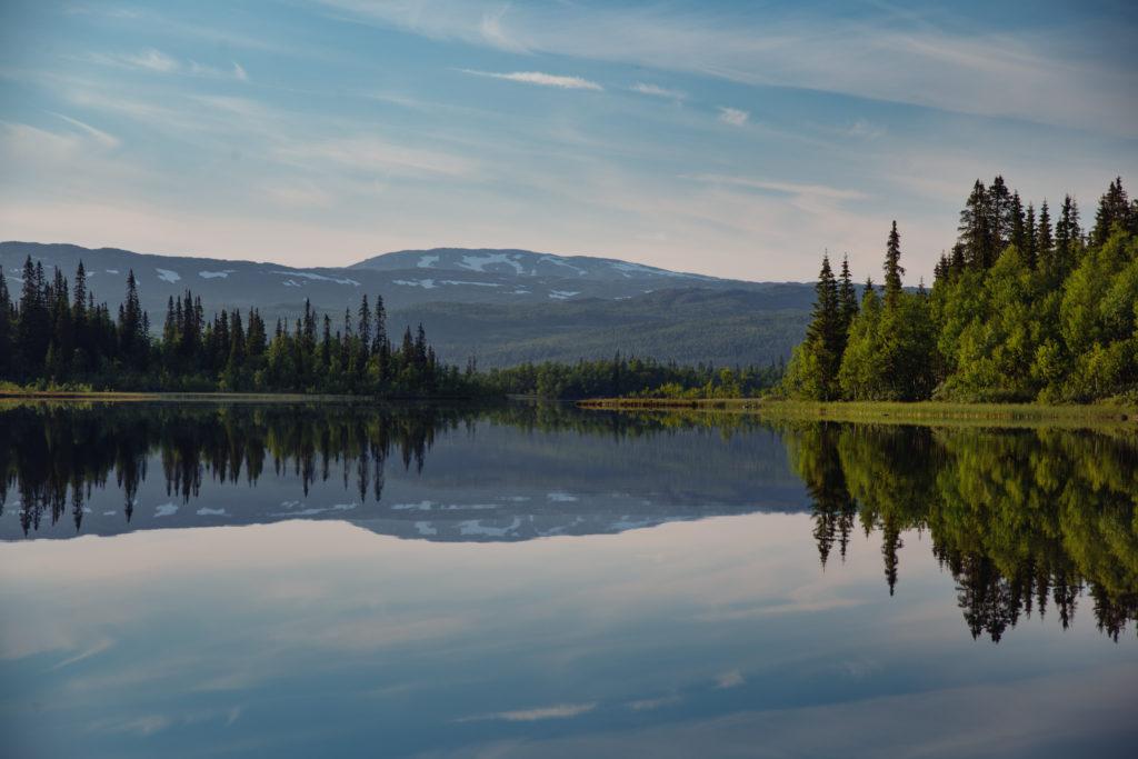 Fjell, skog og himmel speiles i vannet i Børgefjell nasjonalpark. Foto: Bernartwood / trondelag.com